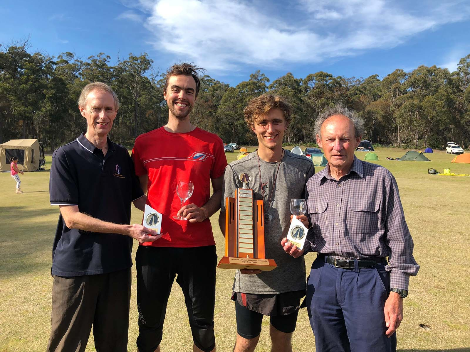 Intervarsity winners presented trophy by ARA President David Rowlands and Intervarsity founder David Hogg